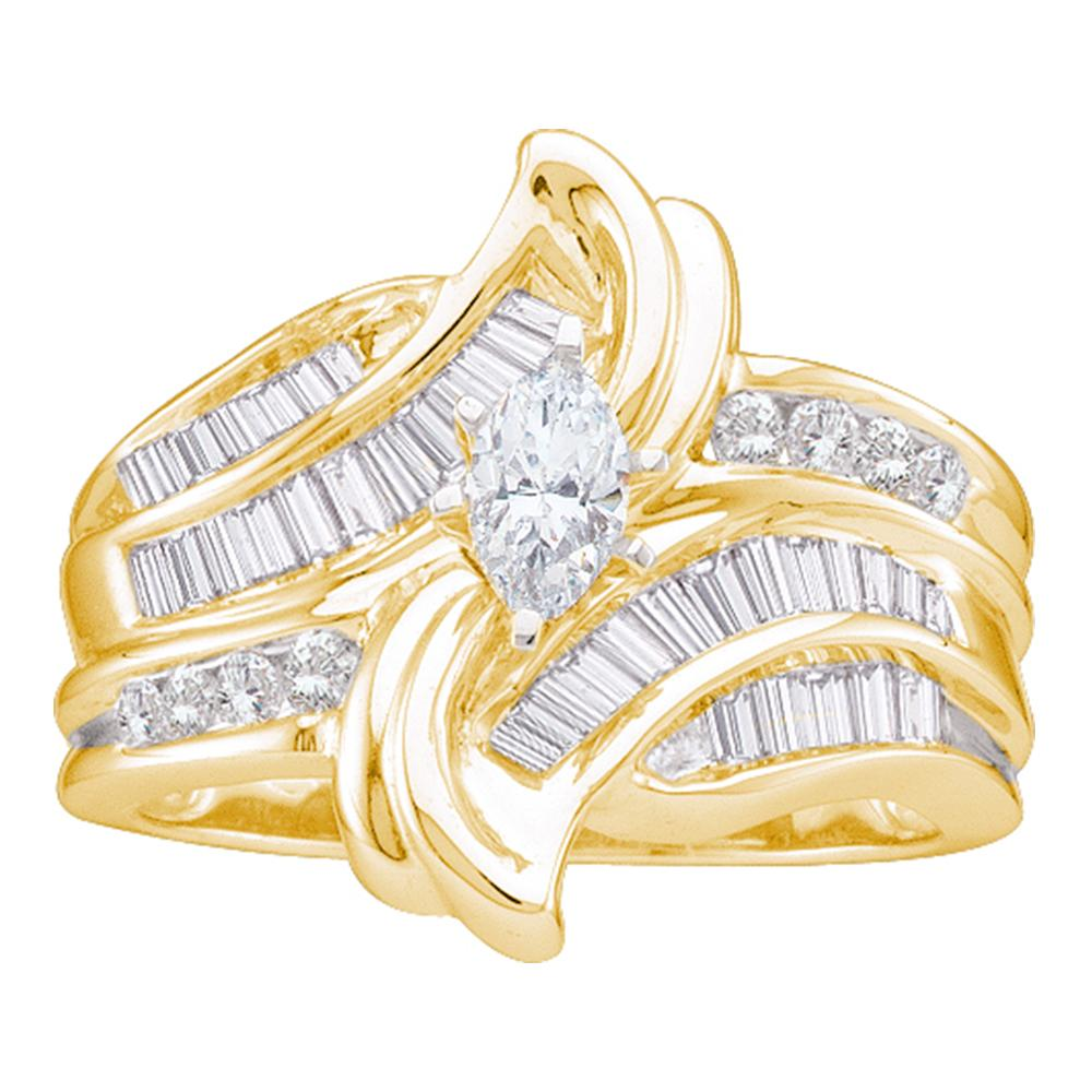 14kt Yellow Gold Womens Marquise Diamond Solitaire Bridal Wedding Engagement Ring 1.00 Cttw
