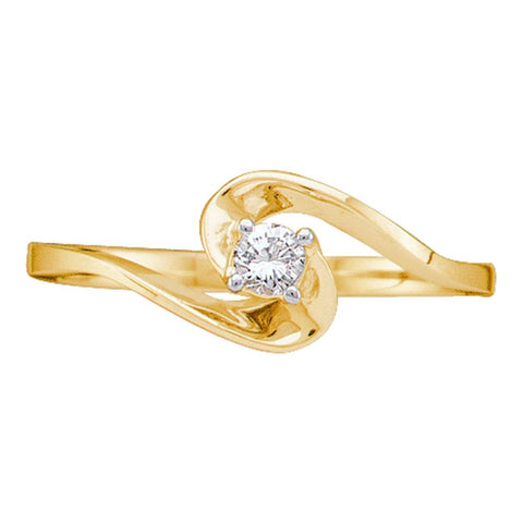 10kt Yellow Gold Womens Round Diamond Round Swirl Promise Bridal Ring 1/10 Cttw