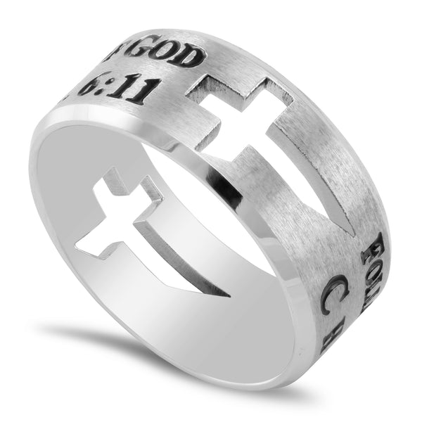 1 Timothy 6:11 Ring Cut Out Cross Silver