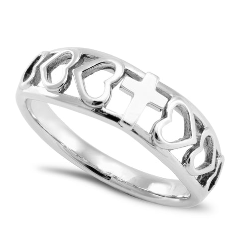 Amazing Grace Ring with Heart Cutout and Cross, Stainless Steel