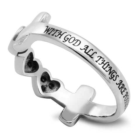 ALL THINGS ARE POSSIBLE Cross and Heart Ring with Stones, Stainless Steel