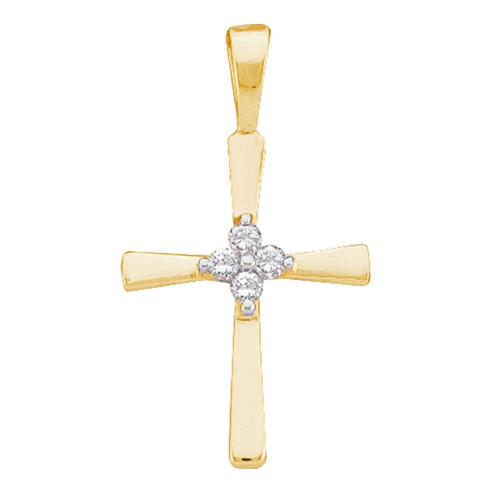 10kt Yellow Gold Cross Pendant for Women with Diamonds 1/20 Cttw