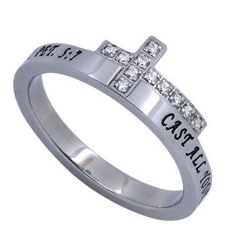 CARE Engraved Bible Verse Sideways Cross Ring