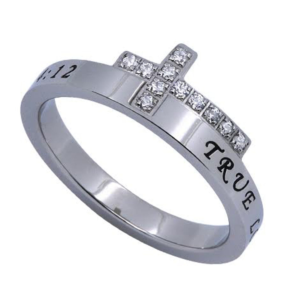 TRUE LOVE WAITS Engraved Bible Verse Sideways Cross Ring