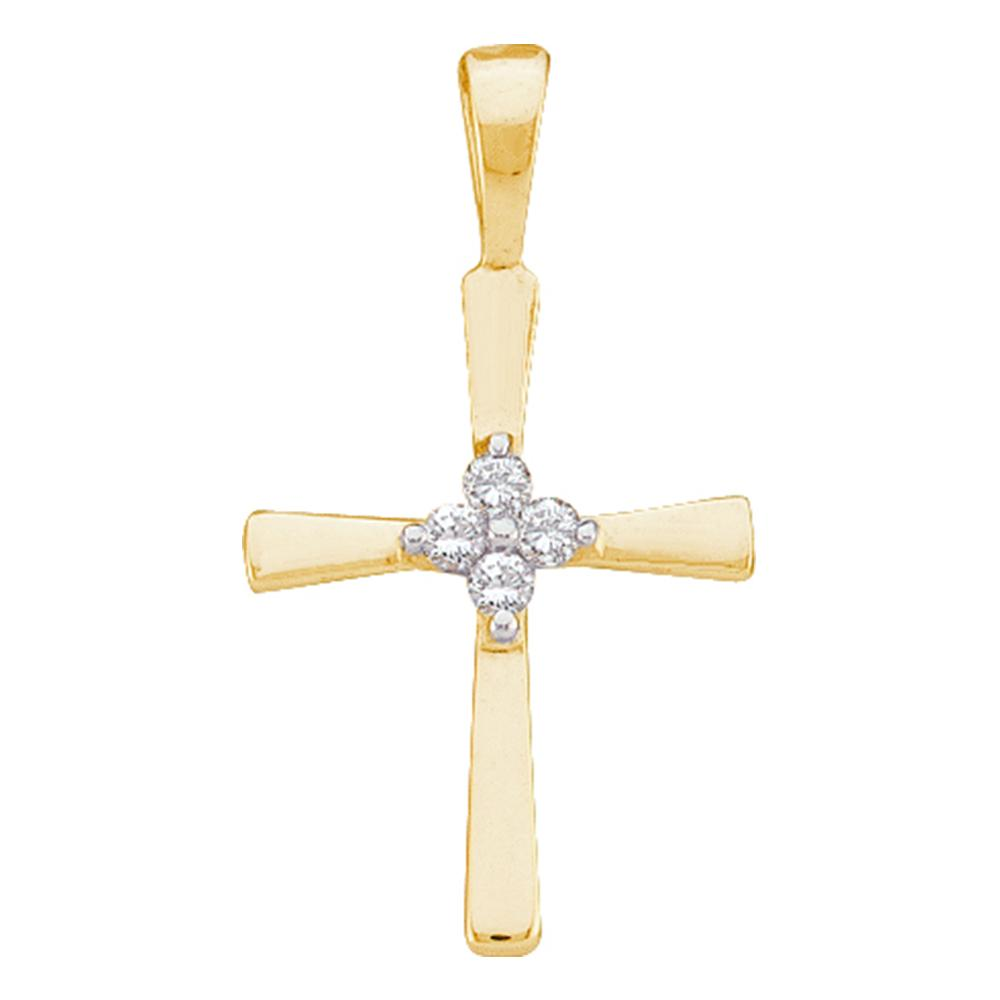 14kt Gold Cross Pendant for Women, with Diamonds 1/20 Cttw