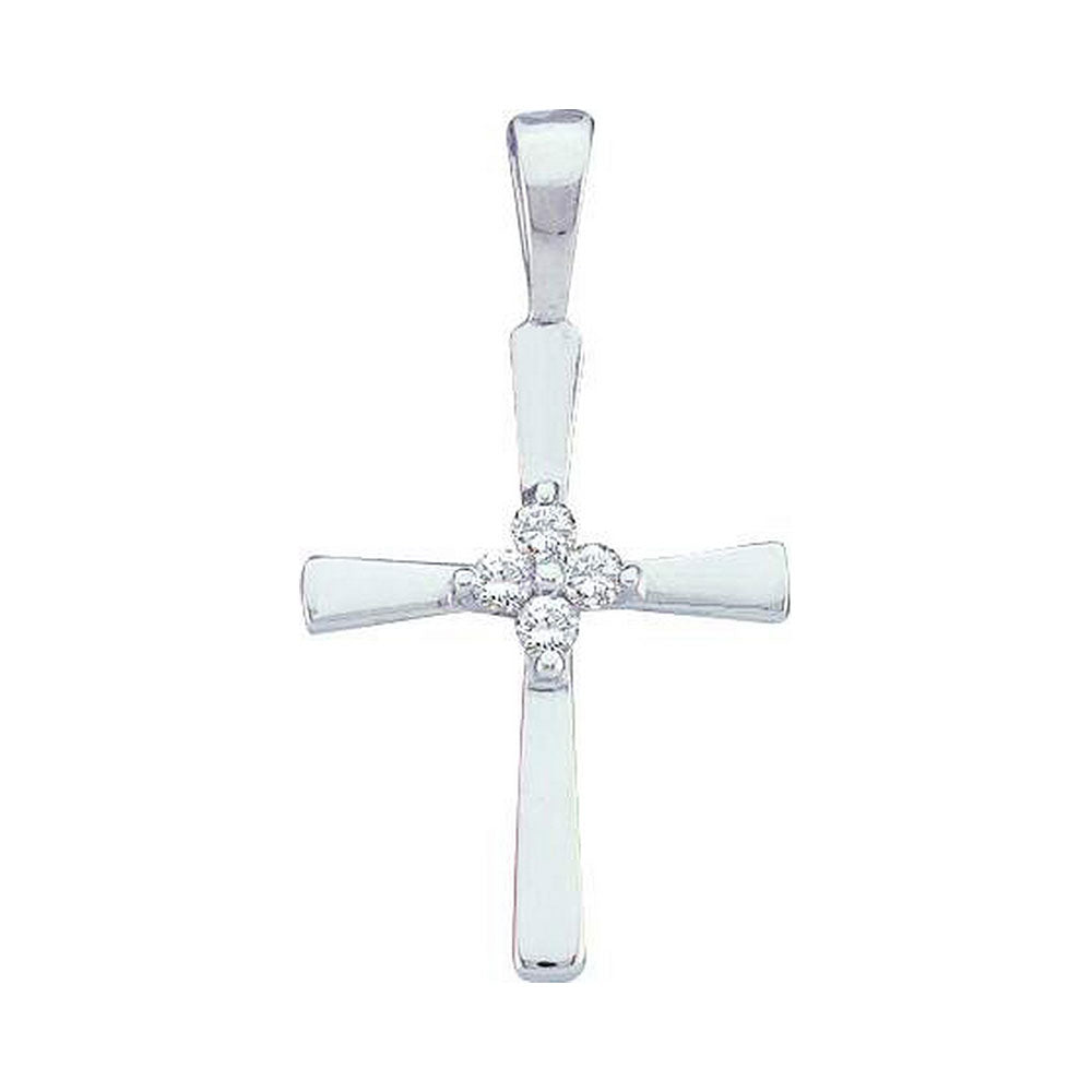 14kt White Gold Cross Pendant for Women, with Diamonds 1/20 Cttw