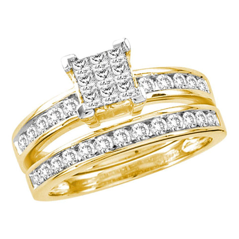 14kt Yellow Gold Womens Princess Diamond Cluster Bridal Wedding Engagement Ring Band Set 1.00 Cttw