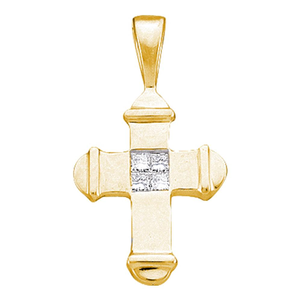 Gold Cross Pendant for Women with Diamonds 1/20 Cttw