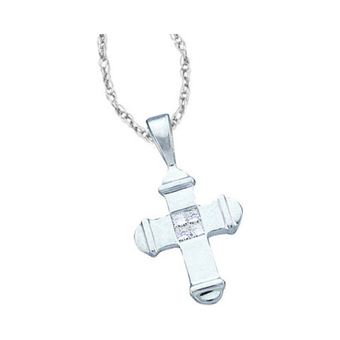 Tiny 14K White Gold Cross Necklace For Women with Diamonds 1/20 Cttw
