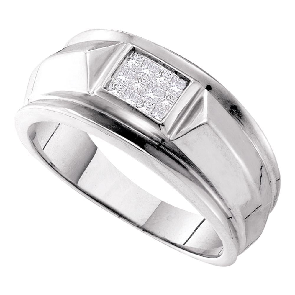 14kt White Gold Mens Princess Diamond Cluster Band Ring 1/4 Cttw