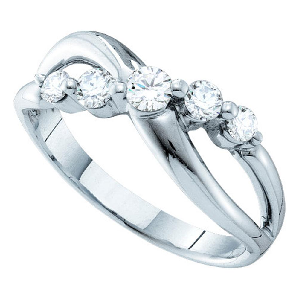 14kt White Gold Womens Round Diamond 5-stone Crossover Ring 1/2 Cttw