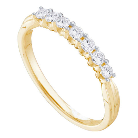 14kt Yellow Gold Womens Round Diamond 7-stone Band Ring 1/3 Cttw