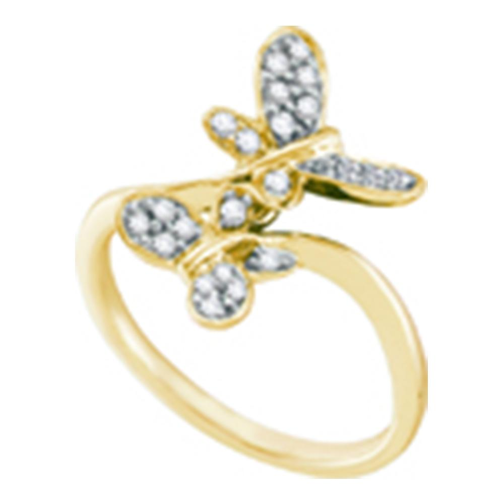 14kt Yellow Gold Womens Round Diamond Double Butterfly Bug Bypass Ring 1/4 Cttw