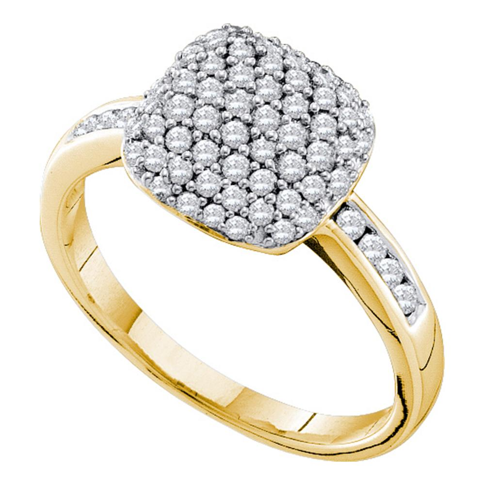 14kt Yellow Gold Womens Round Pave-set Diamond Square Cluster Ring 1/2 Cttw