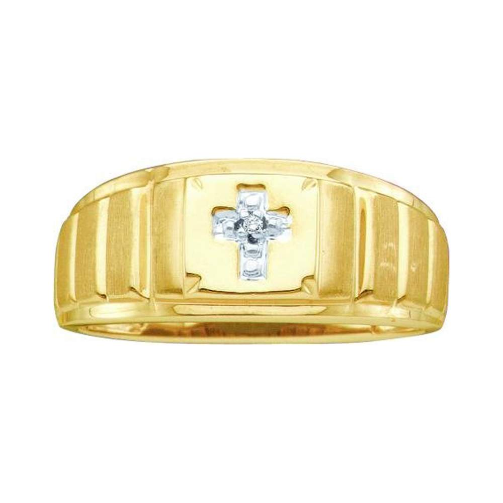 10kt Yellow Gold Mens Round Diamond Christian Cross Faith Ring .01 Cttw