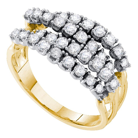 14kt Yellow Gold Womens Round Diamond Four Row Strand Band Ring 1/2 Cttw