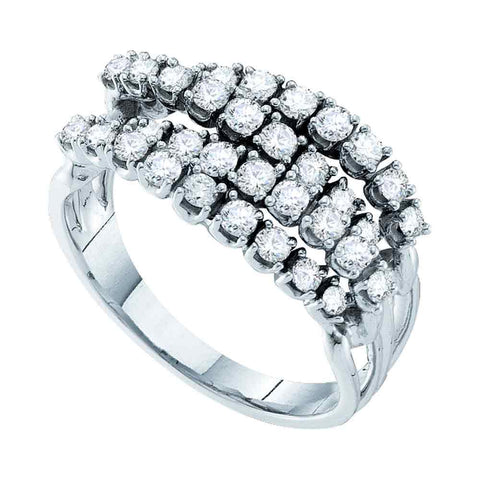 14kt White Gold Womens Round Diamond Four Row Strand Band Ring 1/2 Cttw