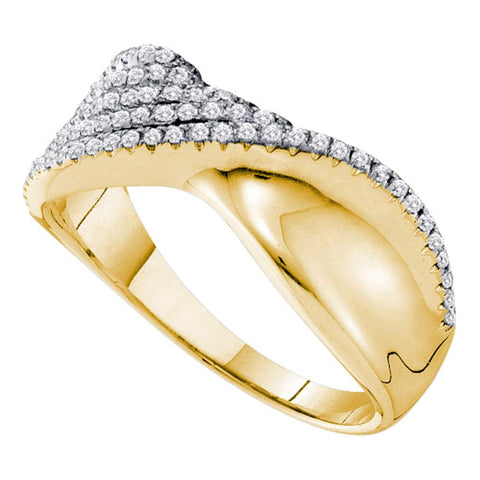 14kt Yellow Gold Womens Round Diamond Fold Twist Band Ring 3/8 Cttw