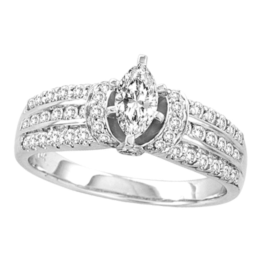 14kt White Gold Womens Marquise Diamond Solitaire Bridal Wedding Engagement Ring 1.00 Cttw