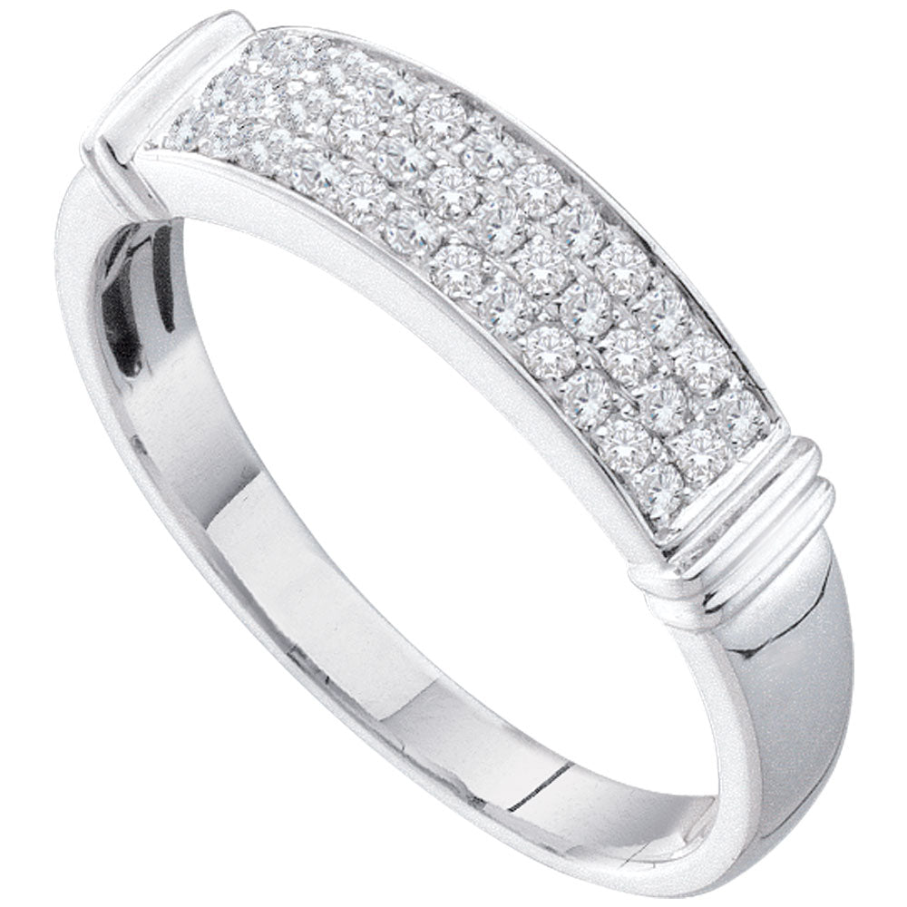 14kt White Gold Womens Round Diamond Triple Row Band Ring 1/4 Cttw