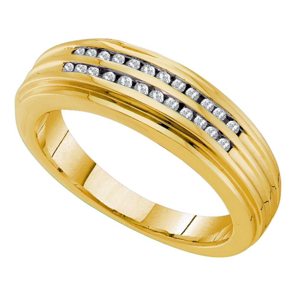 14kt Yellow Gold Mens Round Diamond Double Row Ridged Band Ring 1/5 Cttw