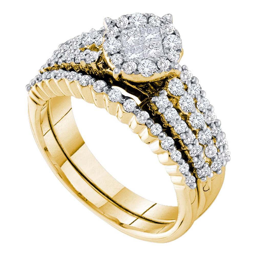14kt Yellow Gold Womens Princess Diamond Soleil Bridal Wedding Engagement Ring Band Set 1-1/5 Cttw