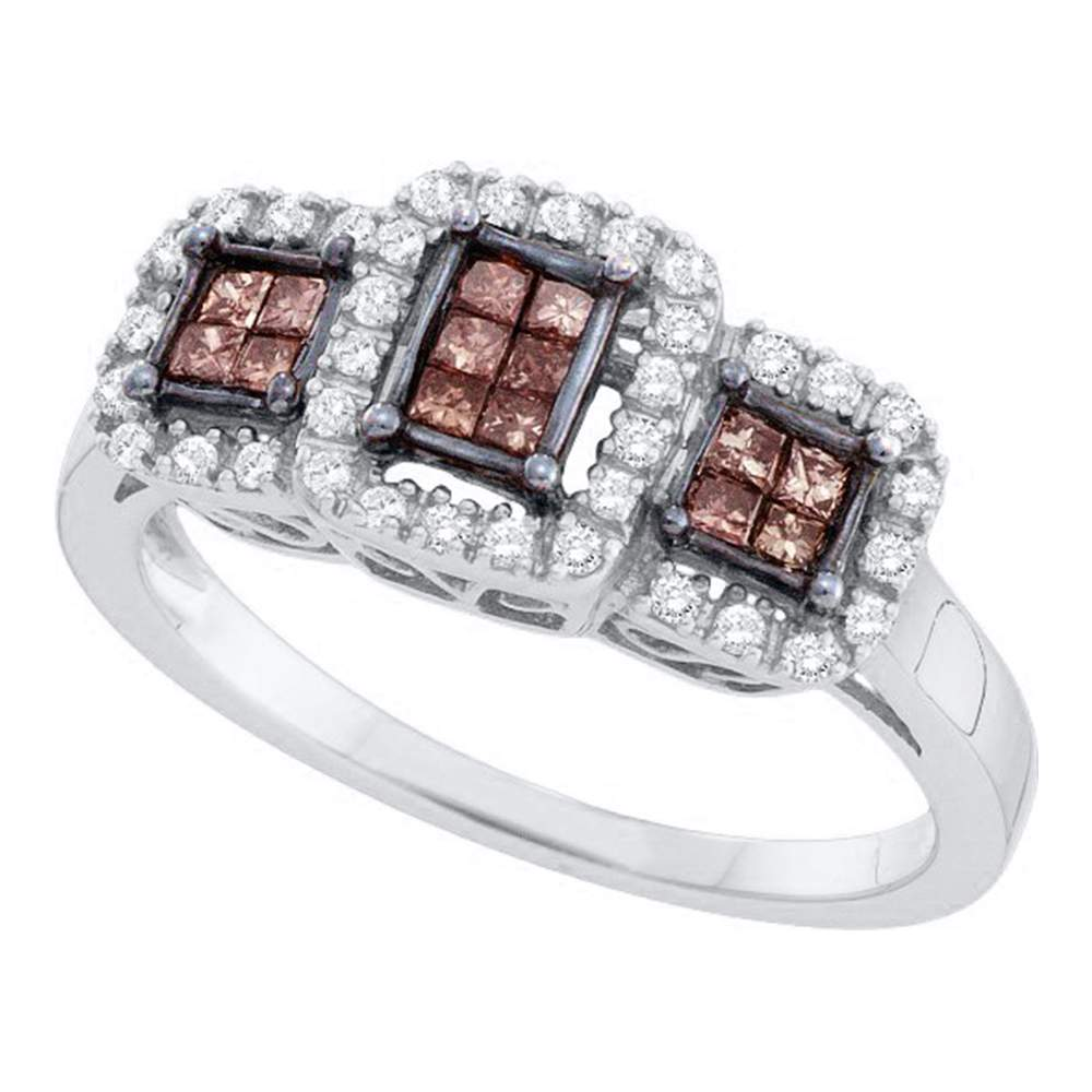 14kt White Gold Womens Princess Cognac-brown Color Enhanced Diamond Triple Cluster Ring 3/8 Cttw