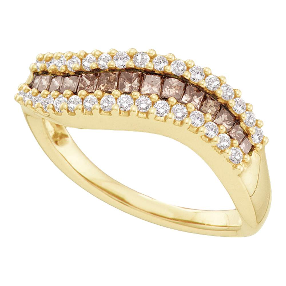 14kt Yellow Gold Womens Princess Cognac-brown Color Enhanced Diamond Contoured Band Ring 5/8 Cttw