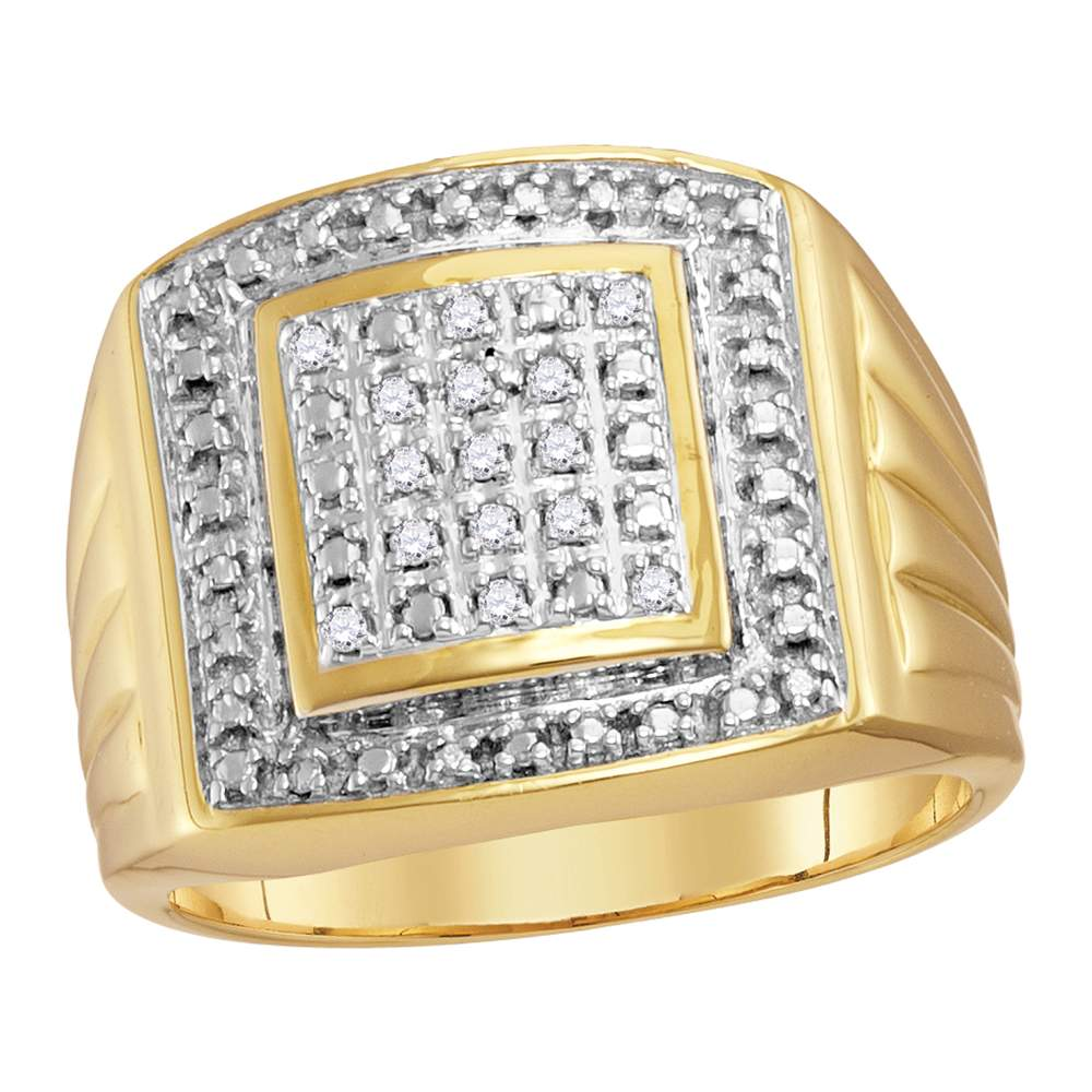 Yellow-tone Sterling Silver Mens Round Diamond Square Frame Cluster Ring 1/10 Cttw