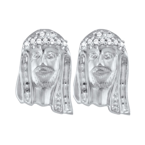 Sterling Silver Womens Round Diamond Jesus Christ Messiah Stud Earrings 1/12 Cttw