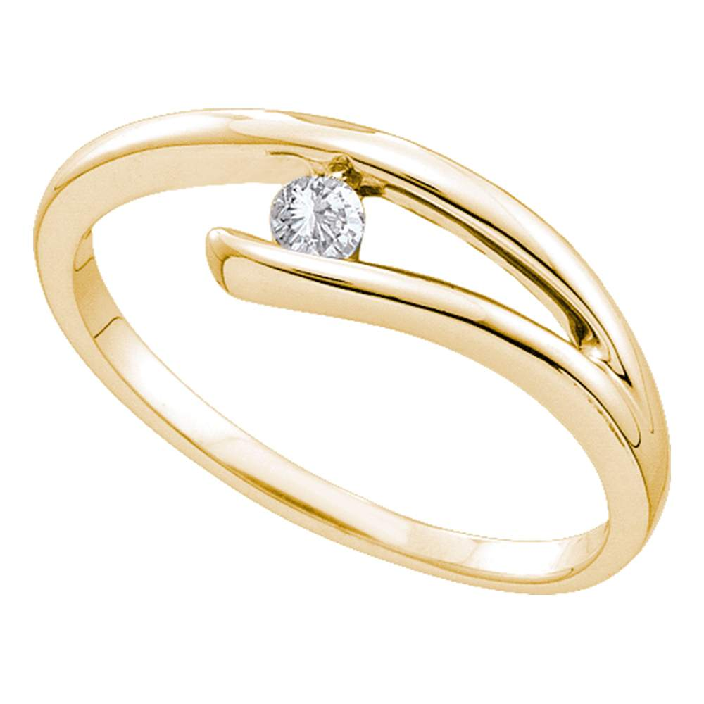 14kt Yellow Gold Womens Round Diamond Solitaire Promise Bridal Ring 1/10 Cttw