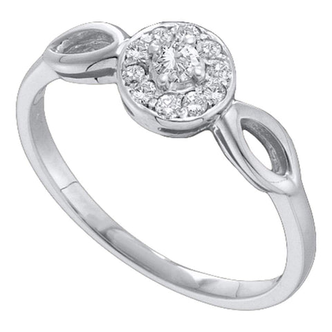 14kt White Gold Womens Round Diamond Solitaire Promise Bridal Ring 1/8 Cttw