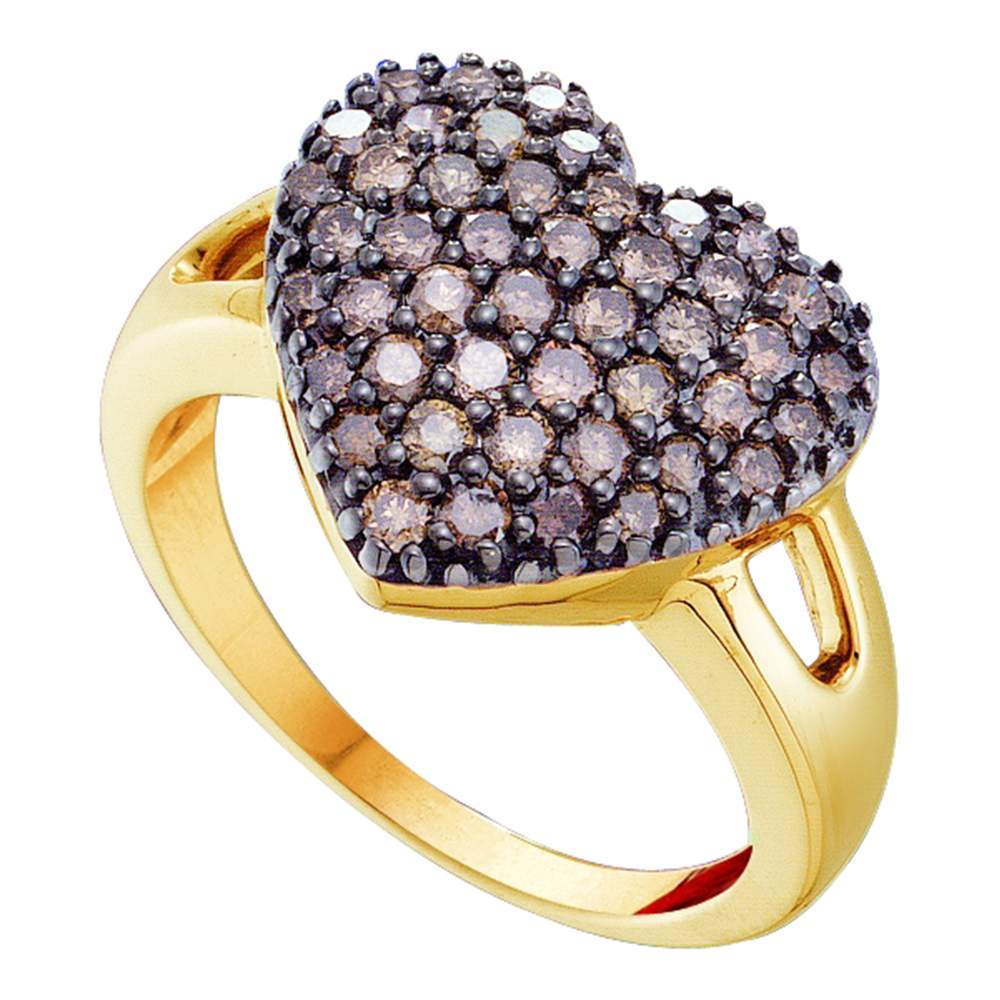 14kt Yellow Gold Womens Round Cognac-brown Color Enhanced Diamond Heart Cluster Ring 1.00 Cttw
