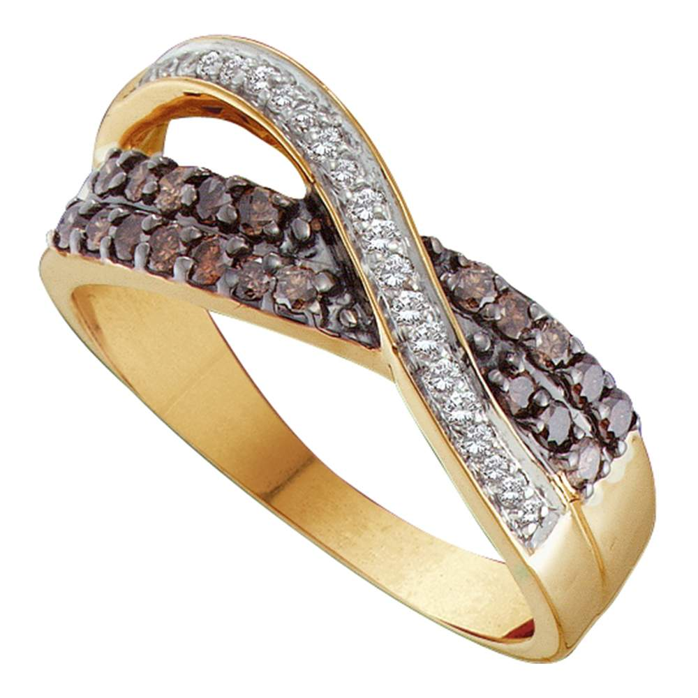 14kt Yellow Gold Womens Round Cognac-brown Color Enhanced Diamond Crossover Band Ring 1/2 Cttw