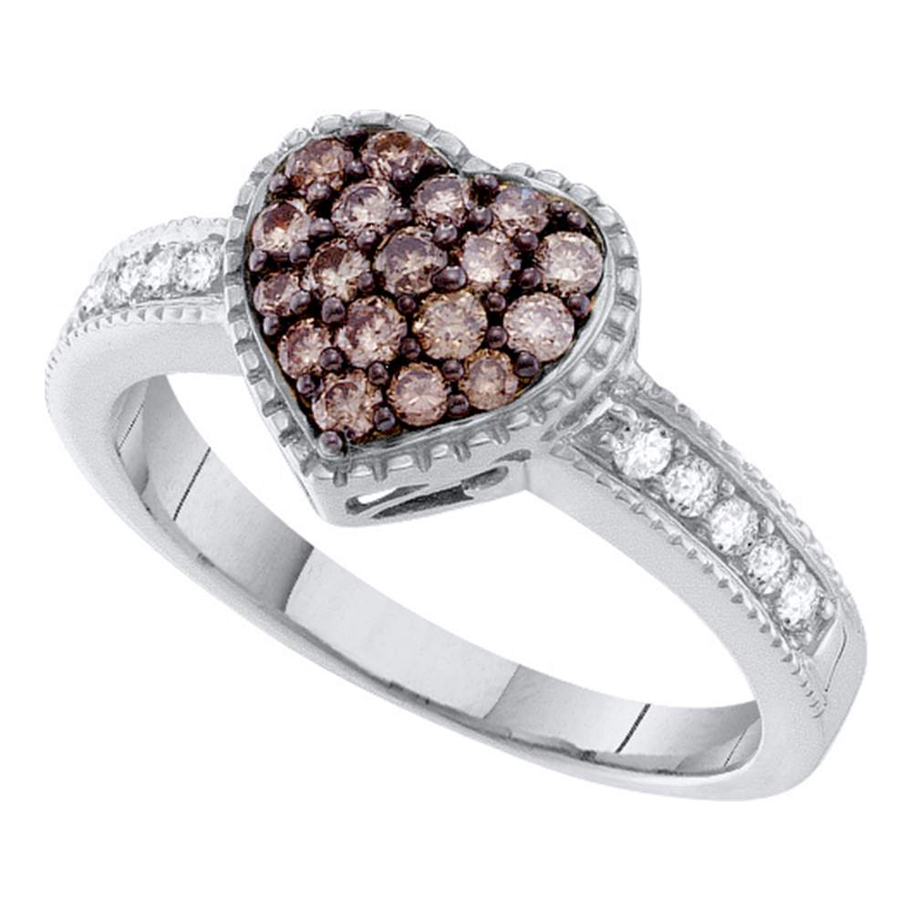 14kt White Gold Womens Round Cognac-brown Color Enhanced Diamond Heart Cluster Ring 1/2 Cttw