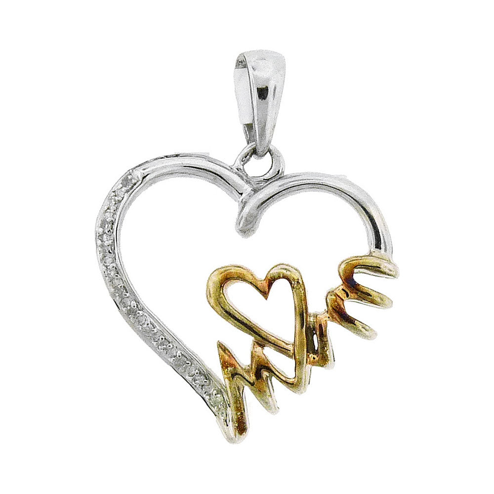 Sterling Silver & Gold Plated MOM Heart Pendant with Diamonds 1/20 Cttw