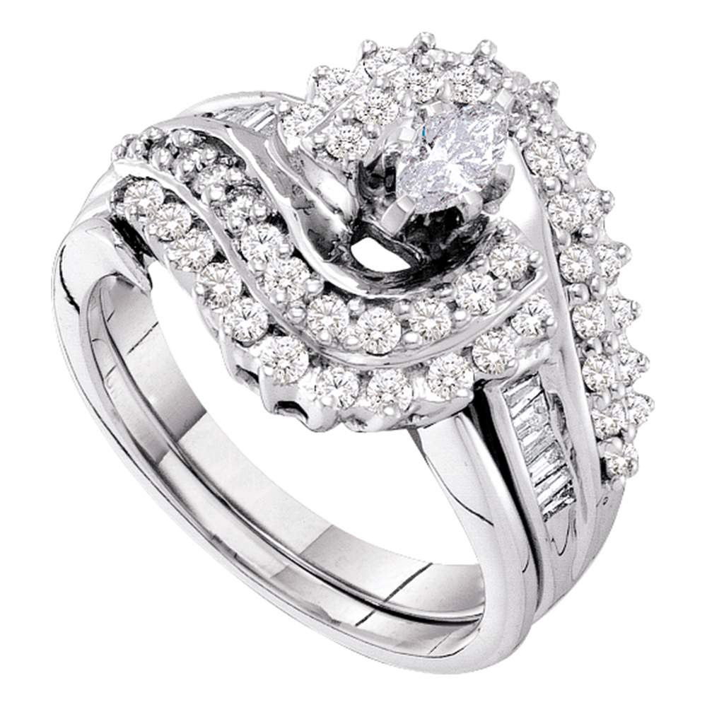 14kt White Gold Womens Marquise Diamond Bridal Wedding Engagement Ring Band Set 1-1/20 Cttw