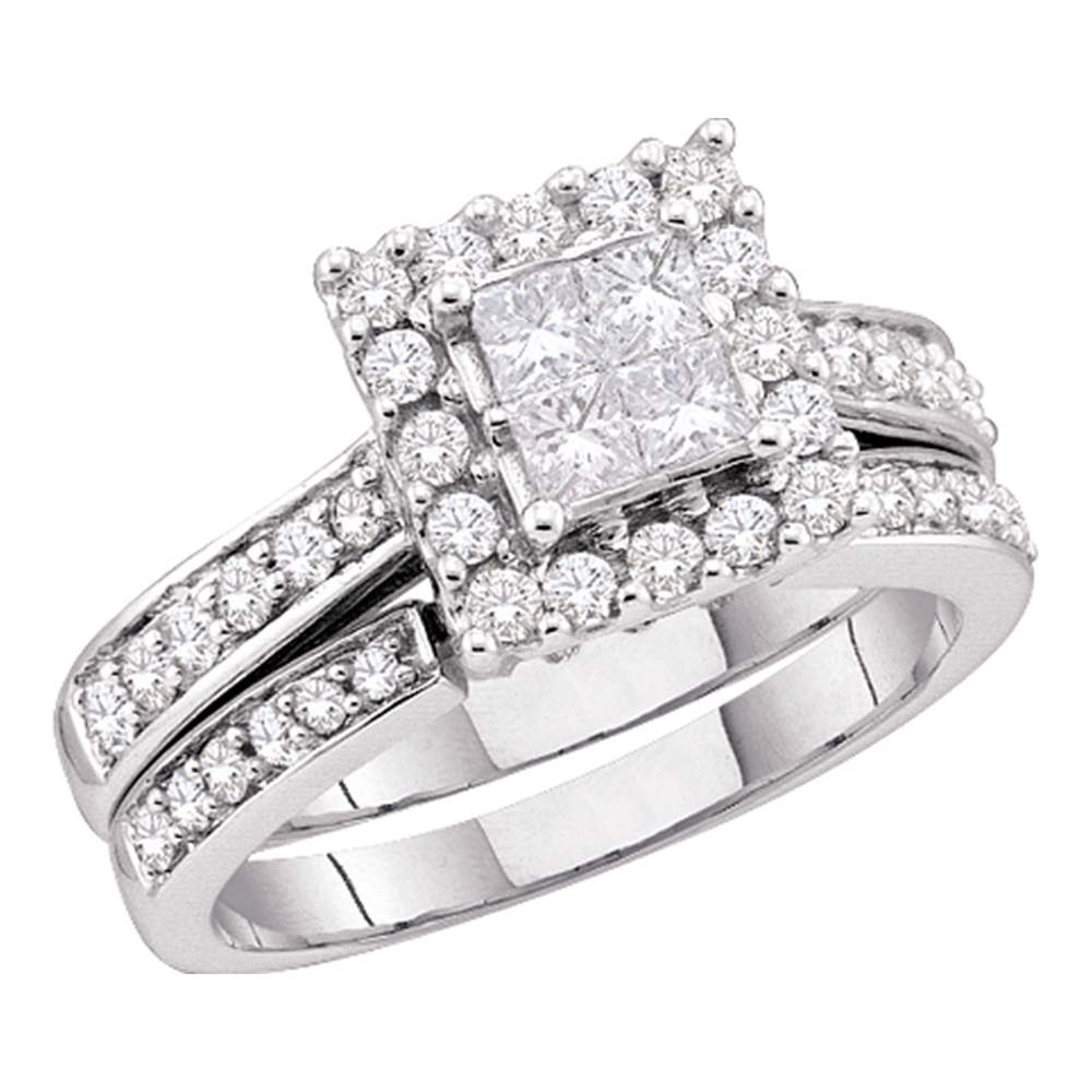 14kt White Gold Womens Princess Diamond Halo Bridal Wedding Engagement Ring Band Set 1-1/2 Cttw