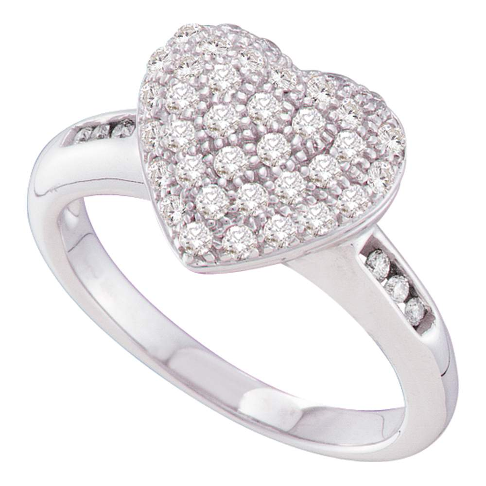 14kt White Gold Womens Round Diamond Heart Cluster Ring 1/2 Cttw