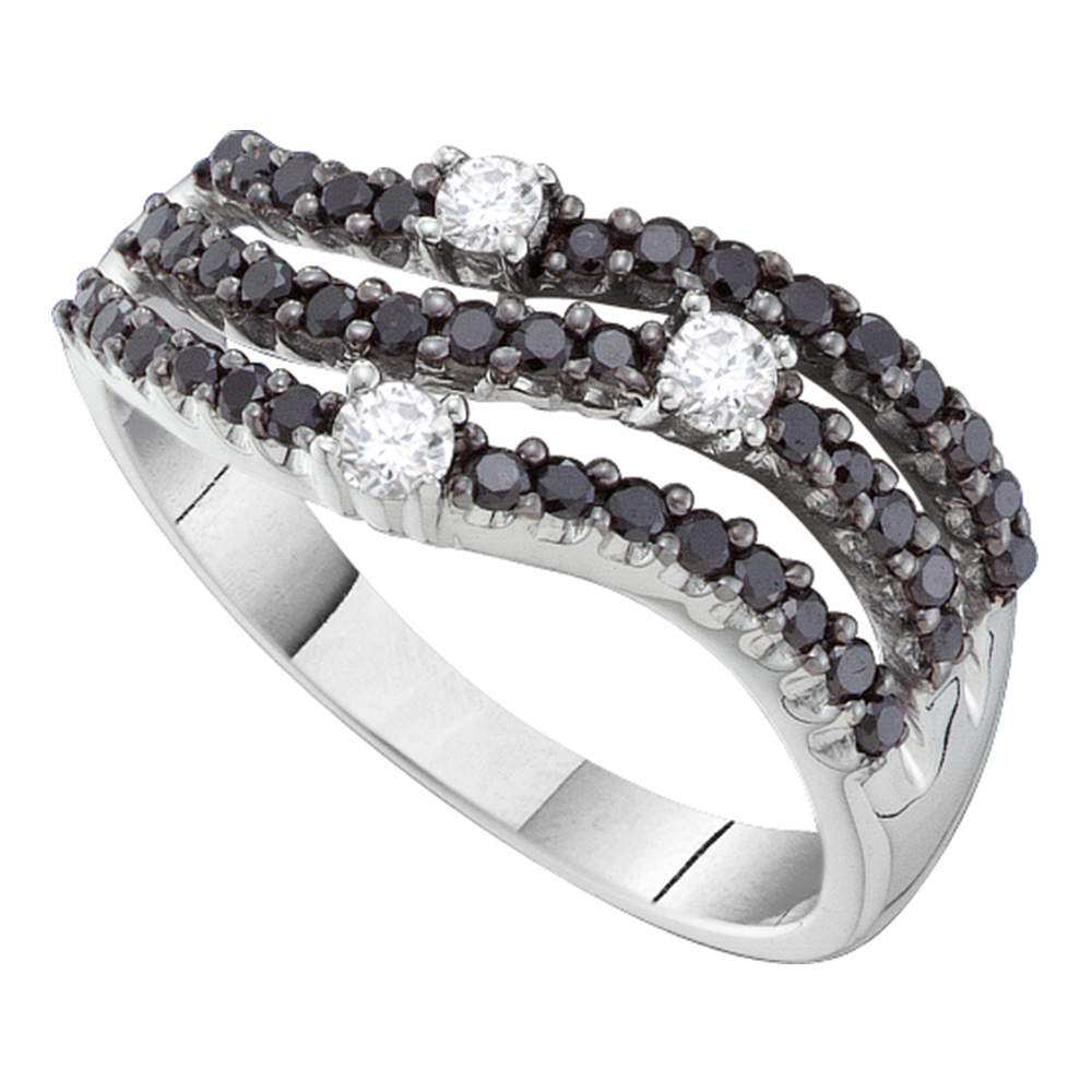 14kt White Gold Womens Round Black Color Enhanced Diamond Triple Row Band Ring 1/2 Cttw