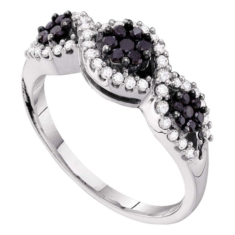 14kt White Gold Womens Round Black Color Enhanced Diamond Flower Cluster Band Ring 1/2 Cttw