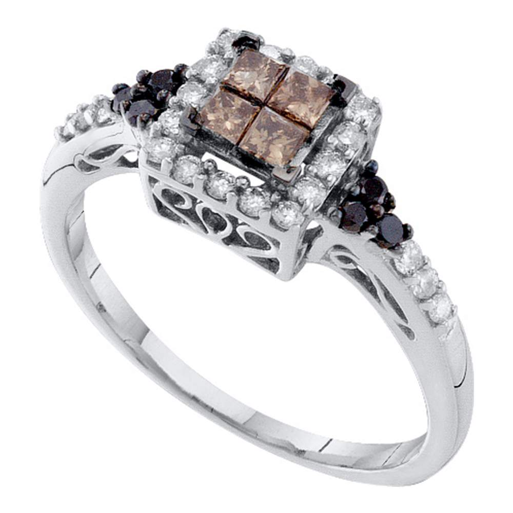 14kt White Gold Womens Princess Cognac-brown Color Enhanced Diamond Cocktail Ring 1/2 Cttw