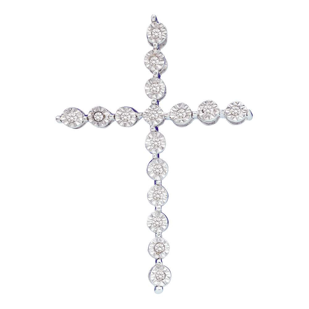 Round Diamond Cross Pendant, 925 Sterling Silver, 1/8 Cttw