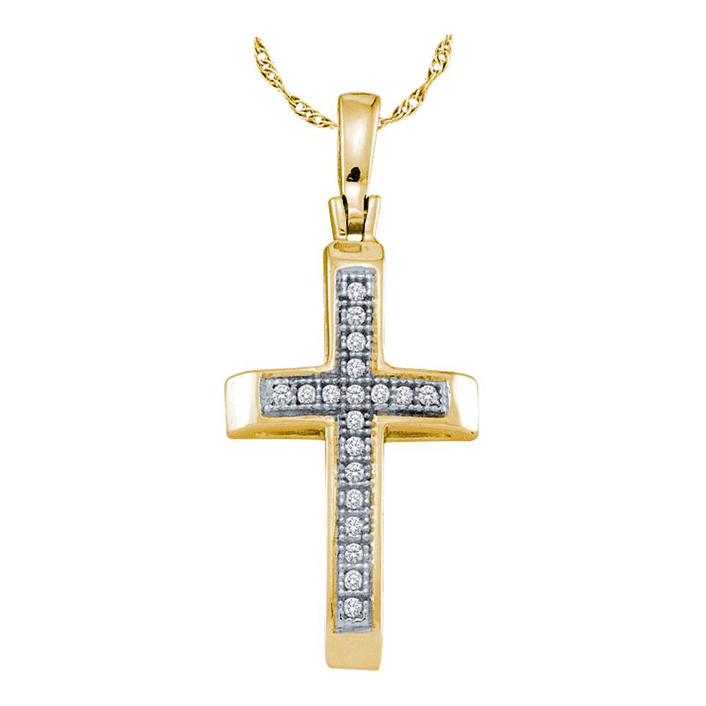 Gold Plated Sterling Silver, Women's Cross Pendant with Diamond Stones 1/20 Cttw