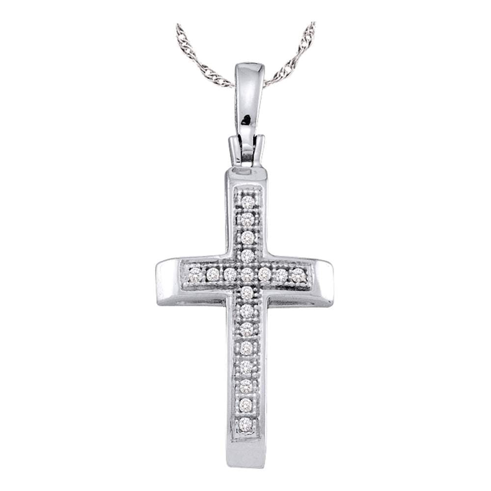 Sterling Silver, Women's Cross Pendant with Diamond Stones 1/20 Cttw