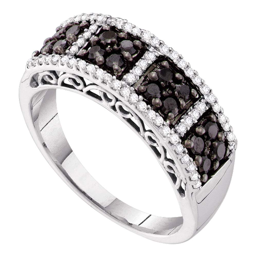 14kt White Gold Womens Round Black Color Enhanced Diamond Symmetrical Band 1/2 Cttw