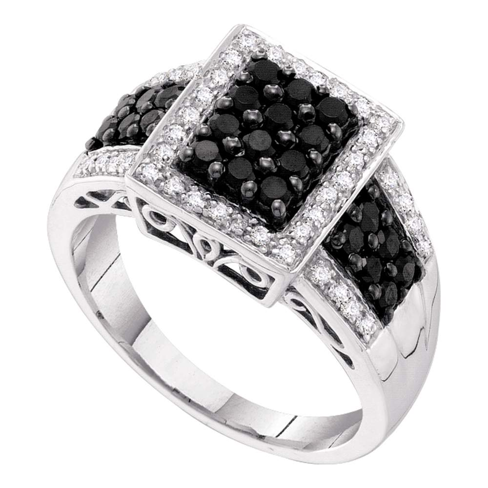 14kt White Gold Womens Round Black Color Enhanced Diamond Rectangle Cluster Ring 5/8 Cttw