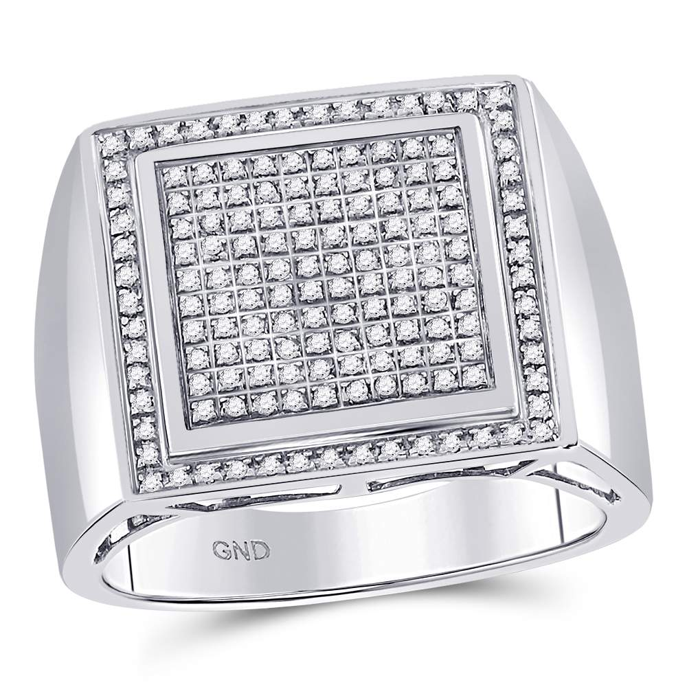 Sterling Silver Mens Round Diamond Square Cluster Ring 3/8 Cttw