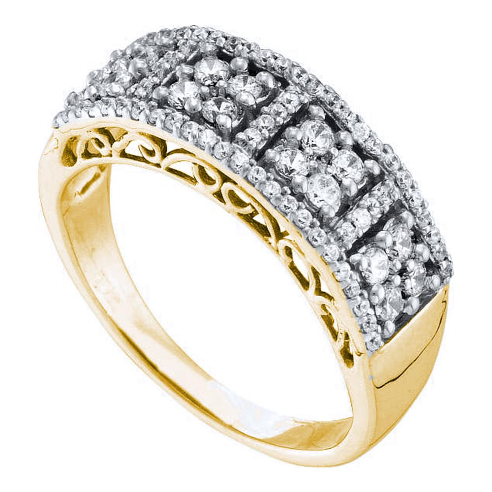 14kt Yellow Gold Womens Round Diamond Symmetrical Square Cluster Band Ring 1/2 Cttw
