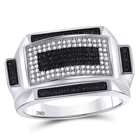 Sterling Silver Mens Round Black Color Enhanced Diamond Rectangle Fashion Ring 1/2 Cttw
